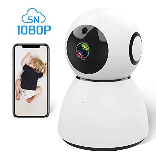 Ssnwrn 1080P IP WiFi Dome Camera Baby Monitor with Wireless IP Camera Security Surveillance System for Baby/Elder/Pet[White]