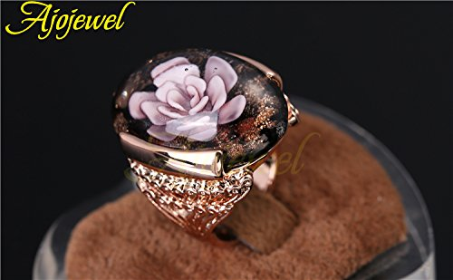 Dudee Gold-color Big Pink Murano Ring cz engagement ring amazon fashion rings