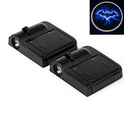 ALTcompluser 2 Stk Tü rbeleuchtung logo, Wireless Auto Schwarzer Schlä ger Autotü r Projektion LED Door Shadow Licht Laser Projektor Geist Magnet Sensor Lampen Set Blue Bat Batman schwarz