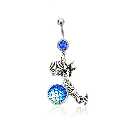 Linsh Stainless Steel Mermaid Shell Belly Ring Navel Bars Body Piercing(Style 4) (Vintage Buttons Shell)