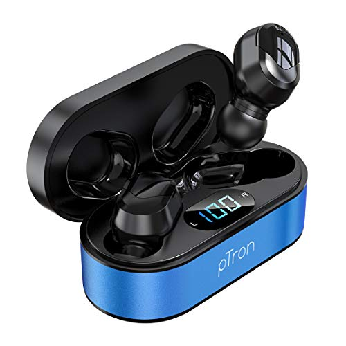 pTron Bassbuds Plus in-Ear True Wireless Stereo Headphones (TWS), Made in India Bluetooth Earphones, IPX4 with HD Mic – (Blue & Black)
