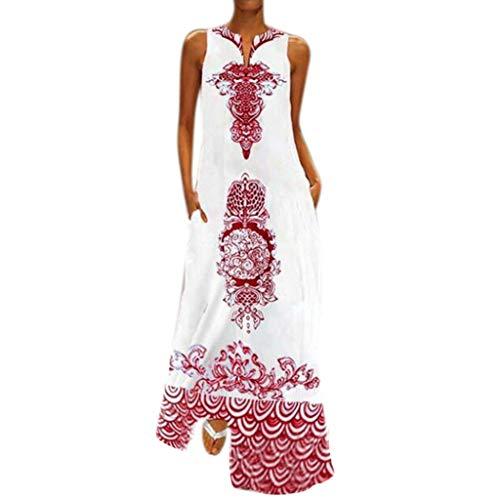 (Nuewofally Women's Bohemian Vintage Printed Maxi Dress Loose Casual Boho Tunic Dress Sleeveless Long Dress (Red,2XL))