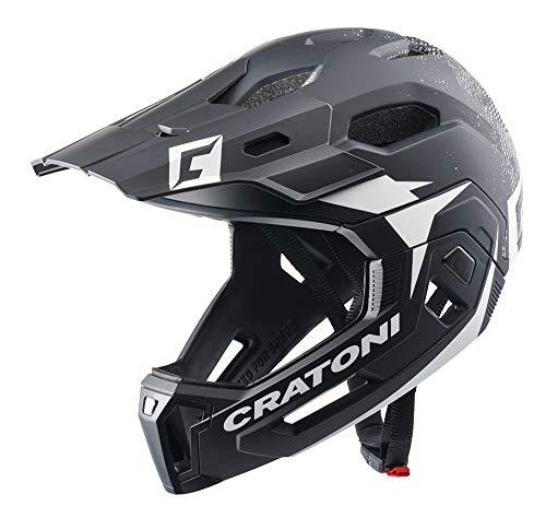 Cratoni C-Maniac 2.0 MX fietshelm Fullfacehelm Downhill Freeride kinbeugel afneembaar (zwart-wit, S/M (52-56 cm))