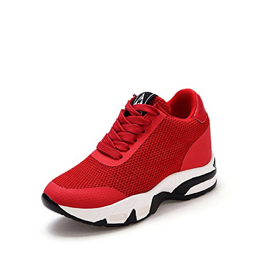 H-Mastery Zapatillas Casual de Deporte Altas Para Mujer Tacón Cuña Oculta 8CM Moda Wedge Sneakers Fitness Caminar Shoes Rojo