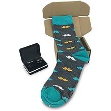 Mustache Socks (Grey with orange and aqua Mustache) with Mustache Cufflinks