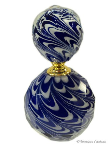 American Chateau Cobalt White Cut Art Glass Hand Blown Fused Cased Large Perfume -