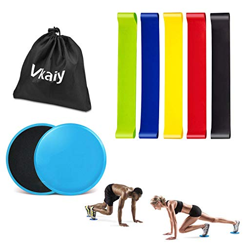 Vkaiy Resistance Bands and Core Sliders Finess Kit for 80 Day Obsession, Dual Sided Gliding Discs Exercise Bands Bundle, 5 Loop Bands and 2 Floor Gliders for Home Gym Workout