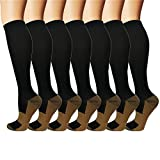 Iseasoo 7 Pack Copper Knee High Compression Socks for Men & Women - Best for Running,Athletic,Medical,Pregnancy and Travel -15-20mmHg
