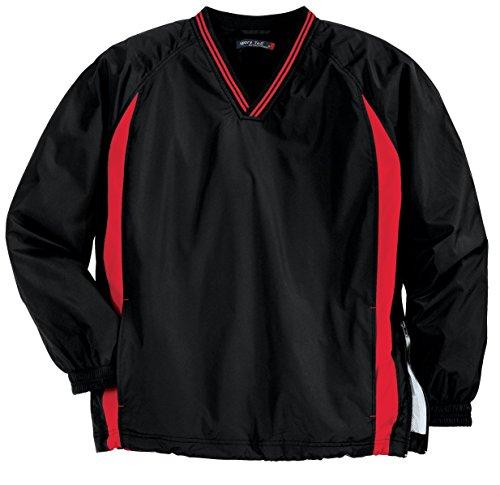Sport-Tek Men's Tall Tipped V Neck Raglan Wind Shirt 3XLT Black/ Red - Tipped Jersey Sport Shirt