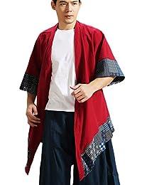LZJN Men's Kimono Cardigan Cotton Linen Blended Cloak Poncho Open Front Coat