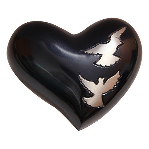 Flying Doves Black Small Heart Keepsake Urn for Human Ashes, Dove Funeral (Dove Urn)