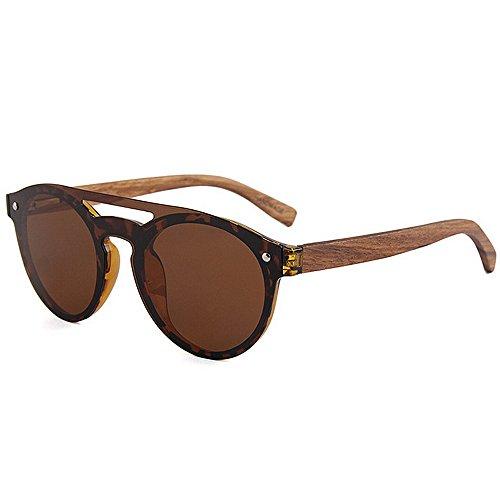 pierna Lente de de Conducción vacaciones polarizadas Marco bambú planos Protección UV de de sol espejados la TAC gafas una Lentes Pesca sola pieza Estilo de Marrón de PC estilo so de Gafas de de fresco Playa xIHPRnWqB