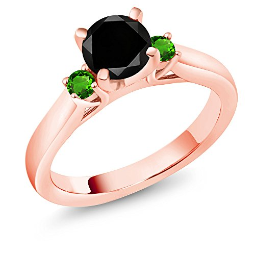 Gem Stone King 1.33Ct Black Diamond Simulated Tsavorite 18K Rose Gold Plated Silver 3Stone Ring (Size 5)