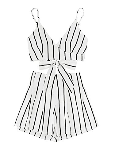 MAKEMECHIC Women's 2 Piece Outfit Summer Striped V Neck Crop Cami Top with Shorts White - Clothes Women For Party