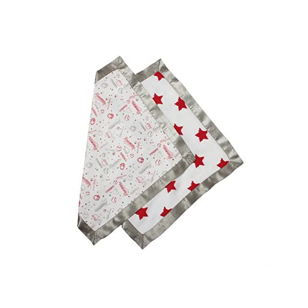 Bacati – Sports Muslin 2 Pc Security Blankets (Baseball Red/Grey)