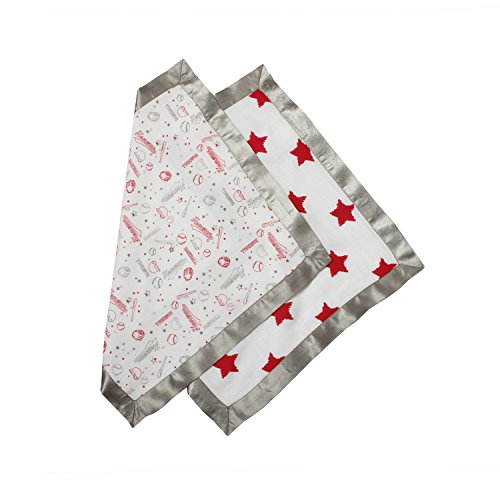 Bacati Muslin 2 Piece Security Blankets, Baseball/Red/Grey