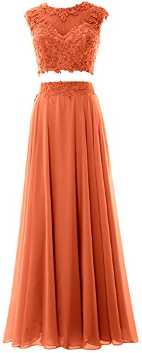 MACloth Women 2 Piece Long Prom Dress Lace Chiffon Formal Party Evening Gown Coral