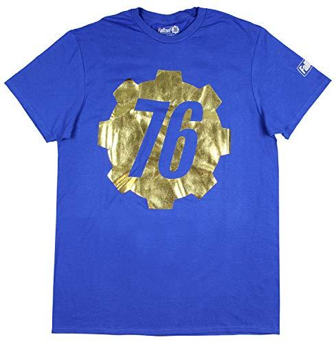 (Bioworld Fallout 76 Shirt Men's Gold Foil Vault 76 Logo T-Shirt (Medium))