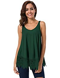 Women's Flowy V Neck Strappy Loose Tank Tops Cami Blouse