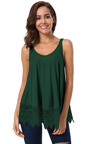 Miomi Womens Loose Cotton Round Neck Sleeveless Lace Embroidered Hem Tank Top (Green, Small)