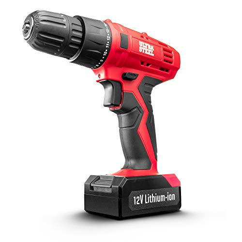 Ultra Steel 12V 1.3Ah Lithium-Ion 3/8″ Cordless Drill Driver, 18+1 Position, LED Light, Keyless Chuck, 1-Year Warranty, Battery W/Charger Included (AQ75019G)