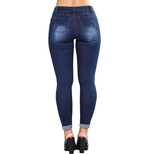 Agujeros con PantalóN Mujer Pantalones Ajustados para Oscuro Grandes Fitness Azul Grandes Tallas Mezclilla Vaqueros Pantalones Slim Tallas Stretch Rawdah De Mujer Mujer De Vaqueros Pantalones CUvFqF