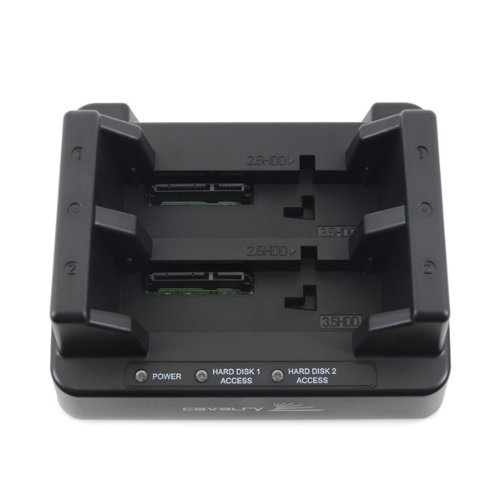 Cavalry Retriever Series EN-CAHDD2BU3C-ZB 2.5in and 3.5in Standalone SATA Hard Drive Duplicator and USB 3.0 Dual-Bay Dock - Black