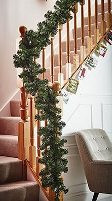 Christmas Garland 11ft Traditional Decoration For Stair Bannister