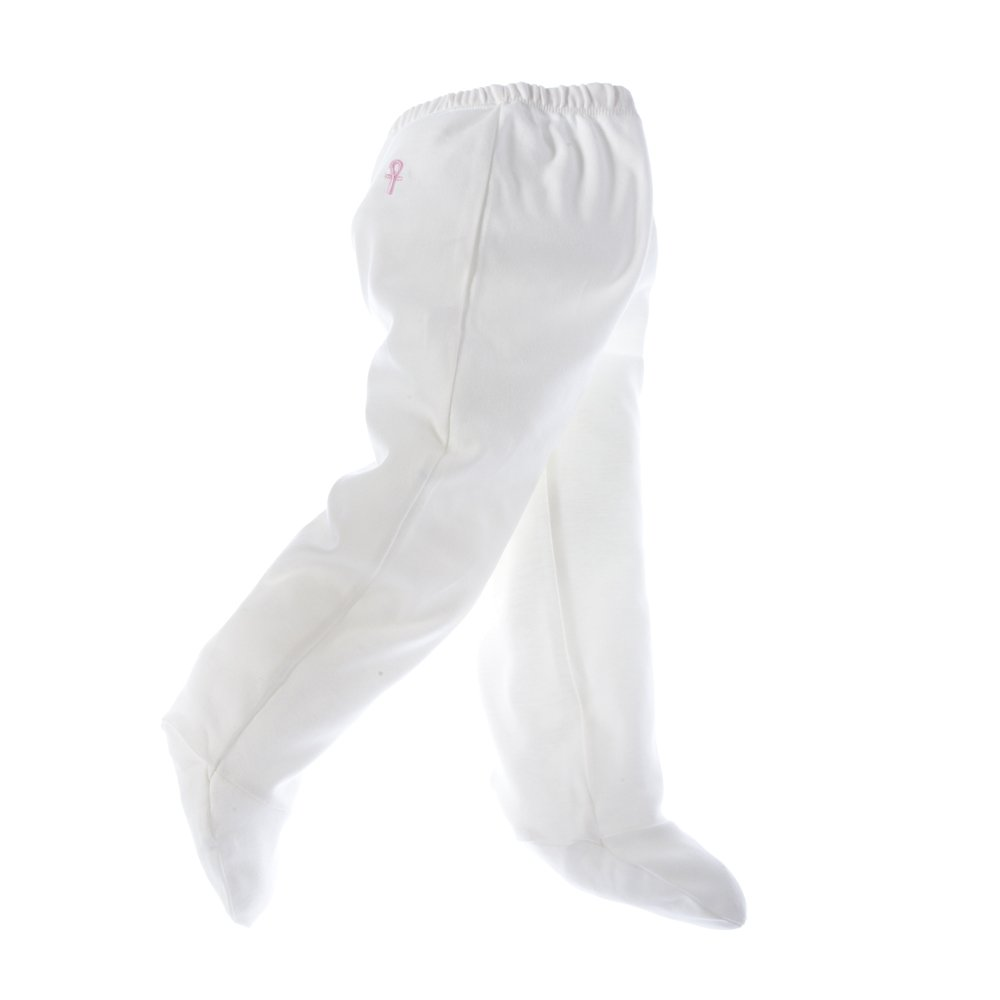 little pharo 100% Extra-Long Staple Egyptian Cotton Footed Leggings (ivory with pink logo, size 6-12 months) lp7-ivory/pink(6-12)