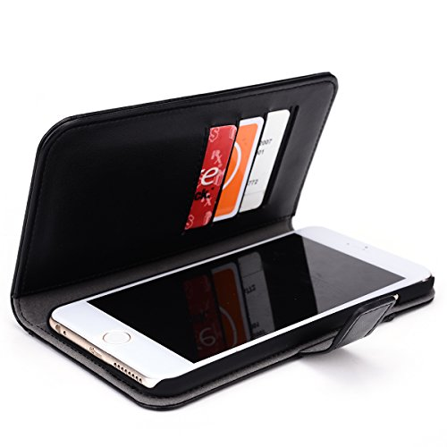 (Kroo® iPhone 6 6s Plus 5.5-Inch Display Case | Black Premium Leather Flip Wallet with 4 Credit Card Slots and External Pocket)