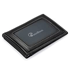Men's RFID Blocking Leather Wallet - Front Pocket Bifold Wallet With USD Money Clip