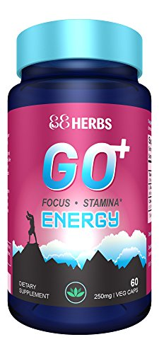 Go+ | Natural Energy Supplement | Increase Energy, Stamina & Focus | L Theanine + Non-GMO Caffeine + Rhodiola Rosea | 60 Veg caps | Premium Ingredients