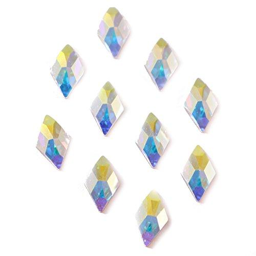 (Swarovski 2709 Rhombus Flatbacks Crystals Nail Art Rhinestones, 10x6mm Crystal AB- 10 Pieces)