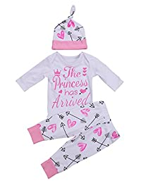 Newborn Baby Girl Romper Bodysuit + Arrow Long Pants + Hat Clothes Outfit