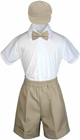 d15e1bb5ad4f Baby Toddler Boy Wedding 4pc Formal Suit Set Black Khaki White Navy Brown  S-4T