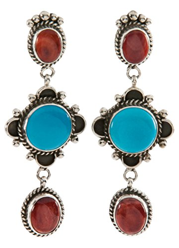 Navajo Native American Turquoise and Orange Spiny Shell Earrings - Orange Spiny Shell