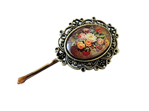 Cameo Rhinestone Pin - Sara Attali Design Lovely Vintage Victorian Style Cameo Glass Hair Pin Hair Clip Amazing Floral