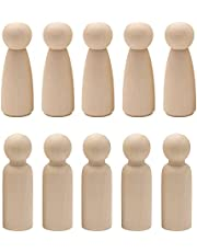 Trsnzul Houten kegels 20 stuks houten figuren ongelakte houten poppetjes Peg Dolls Marionette figuren houten figuren decoratie ornament houten figuren om te beschilderen voor handgemaakt handwerk (2 soorten patronen)