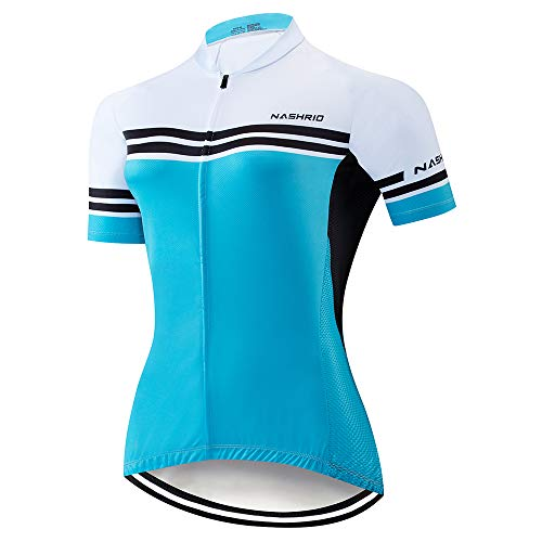 NASHRIO Women's Cycling Jersey Short Sleeve Road Bike Biking Shirt, Full-Zip Tops Bicycle Clothes - Breathable and Quick-Dry with 3 Pockets (Sky Blue)