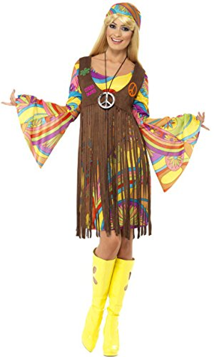 Smiffy's Women's 1960's Groovy Lady Costume, Dress, Printed Waistcoat and Headband, 60's Groovy Baby, Serious Fun, Plus Size 18-20, 35531 - Mens 60's Halloween Costumes