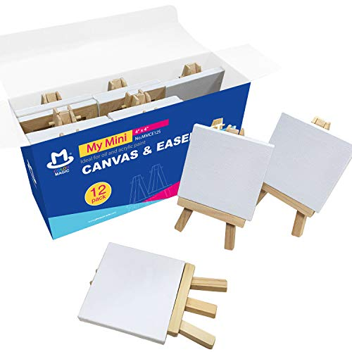 COLOR MAGIC Mini Stretched Canvas with Easel - 4x4 Inch/12 Pack - Mini Canvas and Easel Set, Best For Kids