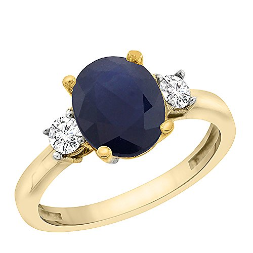 ral Blue Sapphire Engagement Ring Oval 10x8 mm Diamond Sides, size 7.5 (10x8mm Oval Cut Sapphire)