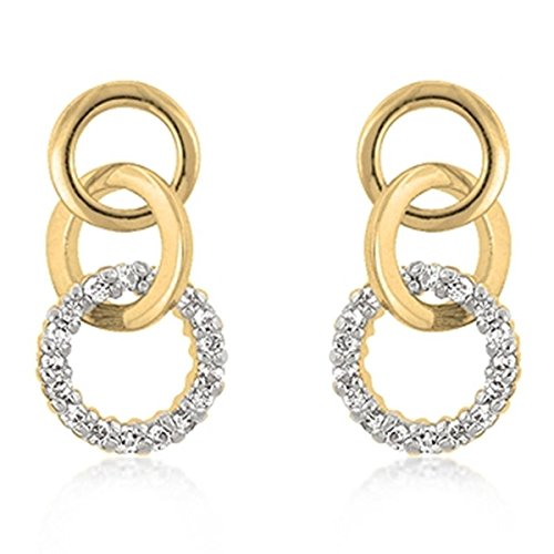 [Gold Colored Metal Cubic Zirconia Studded Triplet Post Earrings, Clear] (Good Triplet Costumes)