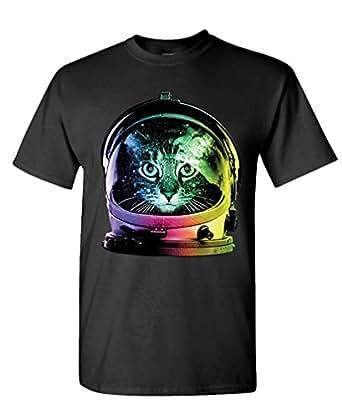 NEON SPACE CAT - kitty astronaut kitten - Mens Cotton T-Shirt, S, Black