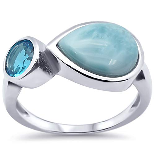 Oxford Diamond Co Sterling Silver Pear Natural Larimar Ring Sizes 7