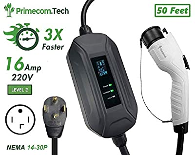 "50 Feet Level 2 PRIMECOM.Tech Electric Vehicle (EV) Charger 220-240 Volt Dryer 14-30 Plug (50"" Feet Level-2)"