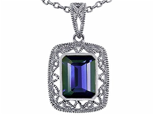 Star K Emerald Cut Pendant Necklace Solid 10k White Gold