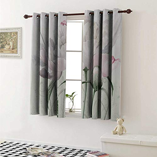 Garden Rose China Block (shenglv Flower Blackout Draperies for Bedroom Floral Pink Roses Tulips Abstract Garden Leaves with Petals and Buds Detailed Print Image Curtains Kitchen Valance W72 x L63 Inch White)