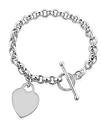 Silver Heart Tag Toggle Charm T Bar Rolo Bracelet Sterling 925 20cm 8inch
