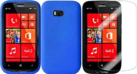 For Nokia Lumia 822 Silicone Jelly Skin Cover Case Blue+LCD Screen Protector (Nokia Lumia 822 Jelly Case)